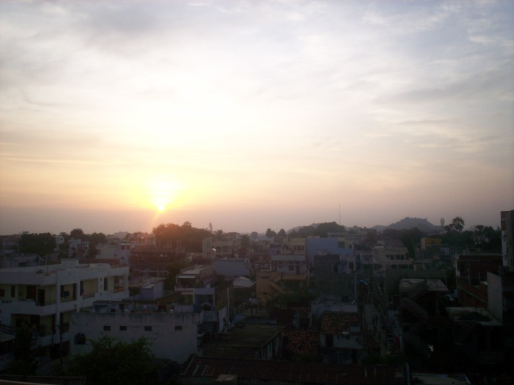 The view from our hotel rooftop in Warangal.