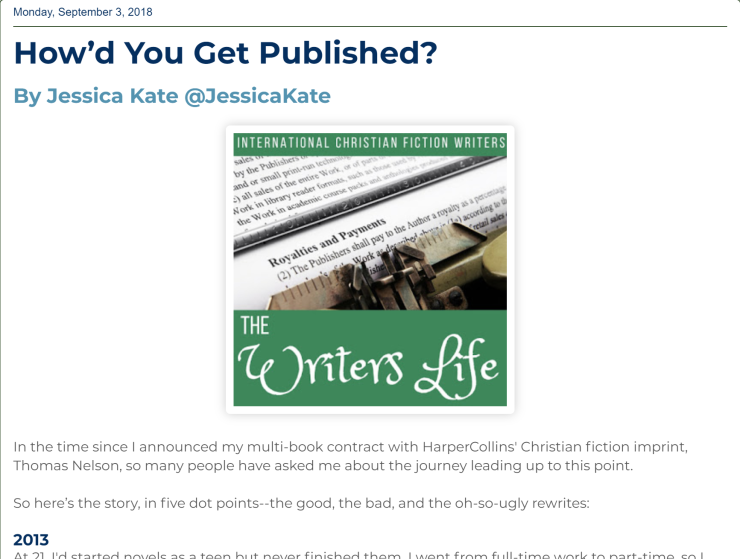 Jessica Kate's article on how she got published with HarperCollins imprint Thomas Nelson.